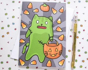Funny Cat Card Halloween Card Cute Greeting Card Frankenstein Kitty Just Because Card Thinking of You Note