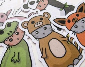 Cute Cat Stickers, Playful Kitties, Journaling, Sticker Flakes, Stationery, Scrapbooking, Paper Stickers, Kittens, Lamb, Pig, Fox, Panda