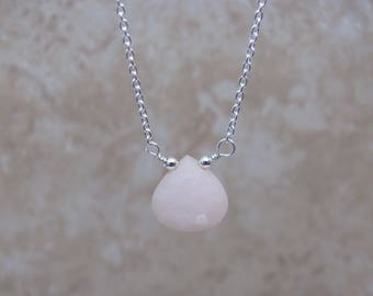 Pink Opal Necklace, Peruvian Pink Opal, October Birthstone Necklace, Extender Chain, Pink Layering Necklace, Opal Jewelry, Silver, Rose Gold