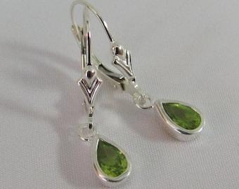 Peridot Earrings in Sterling Silver, Peridot Leverback Earrings, August Birthstone Jewelry, Peridot Jewelry, Peridot Gemstone