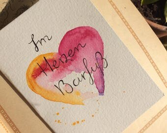 """Hand-painted greeting card card """"Barefoot In the heart"""""""