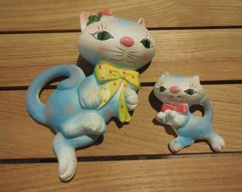 Vintage Bisque Japan Blue Cat & Kitten Wall Hangings