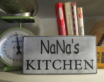 Personalized Kitchen Sign, Nana, Grandma, Farmhouse Wall Decor, Distressed