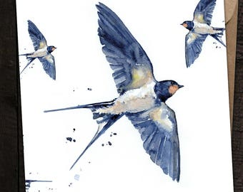 Swallow Card, Swallow Birthday Card, Swallow, Country, British Wildlife, Watercolour Swallow Card, Bird Card