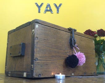 farmhouse style antique wedding chest, old tool box, old wooden box, old wooden chest, antique chest, rustic wedding chest