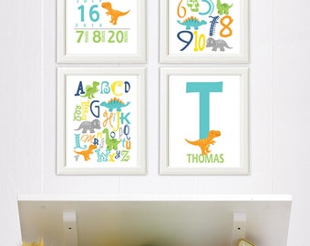 Colorful dinosaur Alphabet and numbers art print - UNFRAMED -turquoise, yellow, gray, orange, navy, green, nursery wall art, kids room decor
