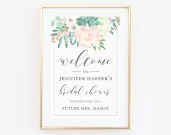 Bridal Shower Welcome Sign, Welcome Poster, Printed Bridal Shower Welcome Sign, Large Bridal Welcome Sign, Canvas or Large Art Print #CL180