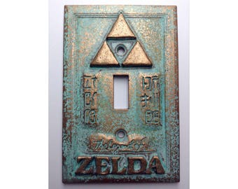 Legend of Zelda Stone or Copper/Patina Light Switch Cover (Custom)