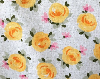 Fabric linen/cotton blend, Orange, vintage flowers
