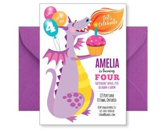 Purple Dragon Birthday Invitation - Cute Dragon Invitation, Printable Personalized Invite, Birthday Invite, Birthday Girl, Dragon Party
