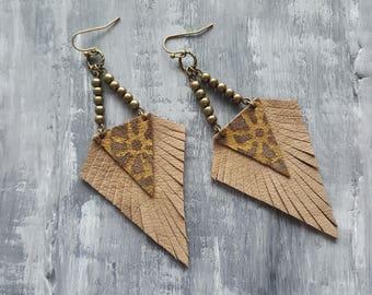 Bronze Leather Earrings. Boho Earrings. Tribal Earrings. Brown Suede Triangle Earrings. Bohemian Hippie Earrings. Long Dangle Earrings.
