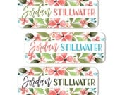 Name Labels, Floral School Name Stickers, Waterproof Labels Daycare, Girl Name Labels, Camp Labels, Flowers, dishwasher safe