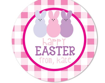 Easter sticker personalized east gift tag spring stickers pink gingham easter stickers personalized easter gift labels round gift stickers bunny stickers negle Choice Image