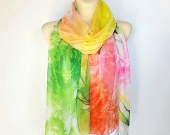 Orange Shawl Women Shawl Green Scarf Silk Shawl Boho Scarves Silk Scarf Gift for Women Bridal Accessories Valentines Day Gift for her 16