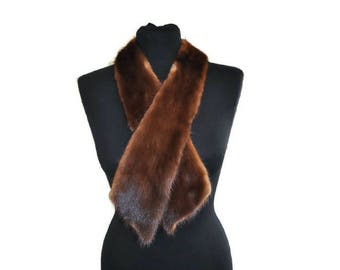 Vintage Fur Collar // Art Deco Vintage Collar // Long Fur Collar, Brown Fur Tippet