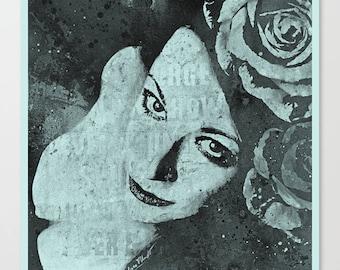 Portrait woman with roses Silk photo art print Graffiti art Modern painting Pin up Female portrait Street art Floral wall art Home decor