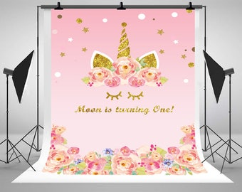 Pink Watercolor Flowers Unicorn Face Photography Backdrops Baby Shower Custom Photo Backgrounds for Children Birthday Party Studio Props