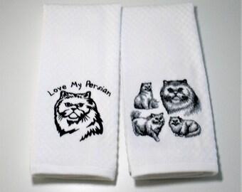 "Persian Cat Gift, Persian Cat Kitchen Towel, Dish Towel, Persian Cat Owner, Persian Cat Lover, Persian Cat Decor, Cat Lover Gift  ""Persian"""