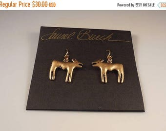 20% OFF SALE Vintage Laurel Burch 1980s Figural Dog Pierced Earrings Antiqued Gold Tone New Old Stock