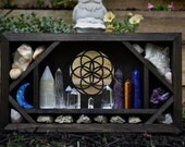 Seed of Life Crystal Shelf and Altar Box - Dark Brown