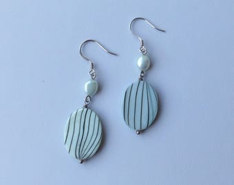 Mint shell and pearl earrings