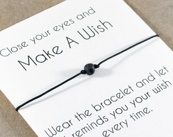 Black Lava Stone Bracelet. Wish Bracelet. Men String Bracelet. Black Stone Bracelet. Strength Bracelet. Beaded Bracelet. Best Friend Gift