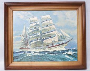 vintage art print picture sea sailboat Romantic art sailing