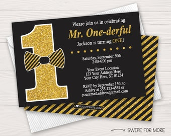 Mr. ONEderful Birthday Invitation | Mr. ONE-derful 1st Birthday Invitations | Black and Gold Bow Tie Theme | Personalized & Printable