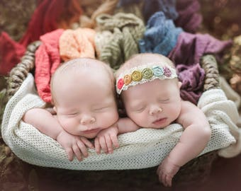 Rainbow Baby headband. Rainbow of Hope. Newborn headband. Photo prop. baby headbands.