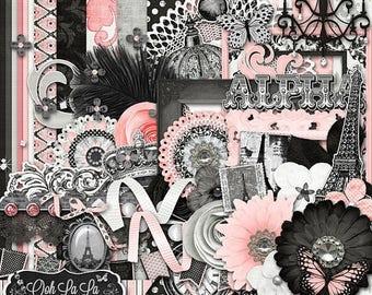 On Sale 50% Ooh La La Digital Scrapbook Kit - Digital Scrapbooking