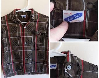 50s Boys Shirt, Button Down, Toddler, 1950s, Dotty Dan, Brown, Circles, Plaid, Atomic Age, Boys Size 4T, Vintage Boys Clothing, Kids