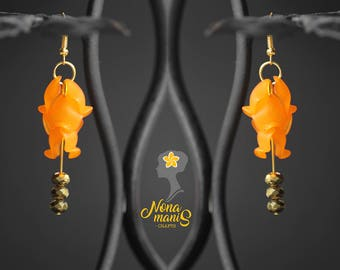 A Pair of Orange Petal Flower Earrings.