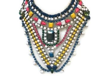 MANGA hand painted rhinestone super statement necklace
