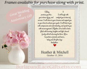 Wedding Vows, 2nd Anniversary, Custom Wedding Vow Gift, Personalized Wedding Gift for Wife, Unique Song Lyrics, gift to wife (vow201)