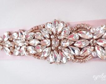 Rose Gold Bridal Belt on Ribbon Sash - Rose Gold Bridal Sash -bridal belt-  Rose Gold Belt -EYMbellish - champagne bridal belt B112