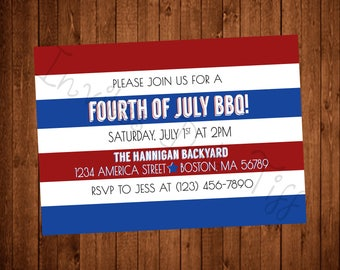 Simple Modern Lines 4th of July BBQ Invite (Printable)