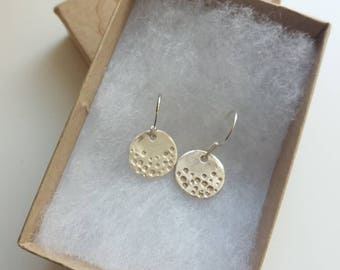 Fine silver circle drop for earrings