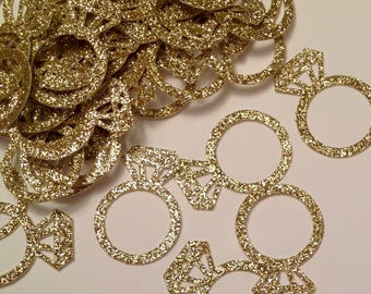 Ring Confetti, Engagement Ring,  Engagement Party Decorations,  Bachelorette Party, Wedding, Bridal Shower, Gold