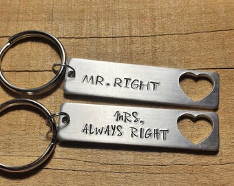 Couples Keychain - Couples Gift - Mr Right Mrs. Always Right - Gift for Couples - His and Hers Gift - His and Hers Key Ring - Couple Keyring