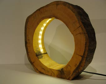 Kelo wood disc lamp 5 with LED