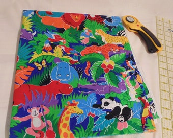 "BRIGHT Jungle print fabric 56"" X 44"""