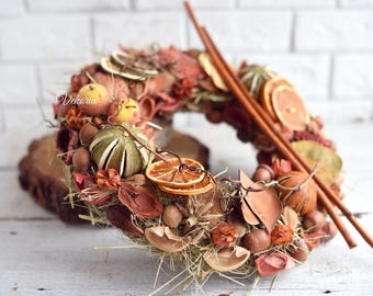 Natural dried flowers wreath, Front Door Decoration, Rustic style, Farmhouse decor,Mother's Day gift,Kitchen,Cafe decor,Summer,Country house