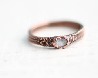 Sapphire Ring Copper Ring Electroformed Ring Light Blue Sapphire Ring Unique Ring Wedding Ring Faceted Sapphire Ring