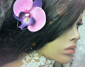 fuchsia Orchid hair clip and artificial purple