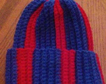 Jayhawk Messy bun / Ponytail hat. Hand crocheted stocking hat. Not a beanie!!! Very good handmade quality hat! USA