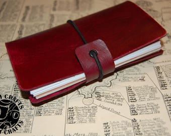 Red - The Archaeologist - Traveler's Notebook Fauxdori Leather Vegtan cover - Field Notes, Midori Feldnotes Journal