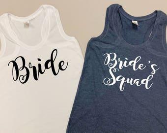 Bride Tank Top - Bride's Squad Tank Tops - Bride's Squad Tank - Bride Squad Tanks - Bachelorette Squad Tank Tops - Bride's Squad Tanks