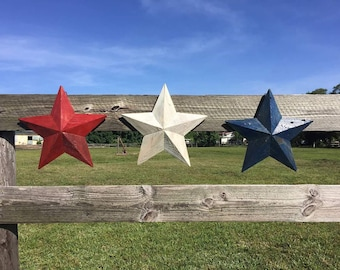 Set of three reclaimed wood stars (red, white and blue)