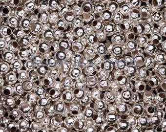 40 round 4Mm shiny silver Metal beads