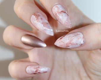 Rose gold pink marble stiletto false nails! press on nails marble stone effect Set of 20 nails